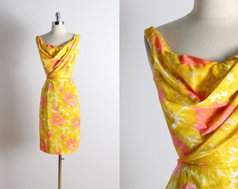 Vintage 50s dress | Dorothy O'Hara 1950s dress | yellow floral dress xs/s | 5287