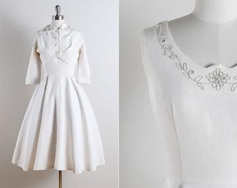 Vintage 50s dress | vintage 1950s dress and jacket | wedding dress medium