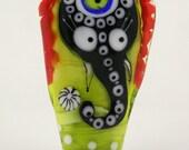 Handblown glasss elephant bead , lampwork bead sra , multicolored glass pendant , indian elephant
