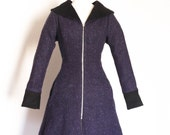 Purple Flecked Wool and Black Corduroy Flared Coat - Made by Dig For Victory