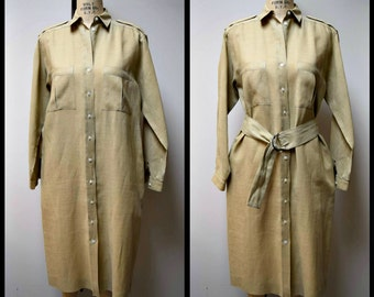 Vintage CLAIRE PEARONE Taupe Linen Knee Length Shirt Coat Dress Duster Size M