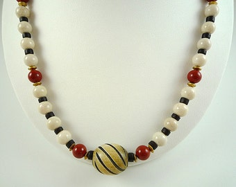 Riverstone Necklace Black White Necklace Wood Jasper Necklace Red Jasper Riverstone Wood Strand Black White Red Necklace Tribal Necklace