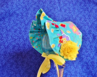 Turquoise Baby Bonnet Reversible Ruffled Brim