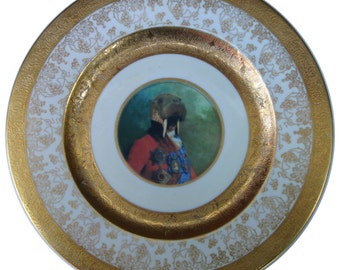 Sir Odobenus Rosmarus Portrait - Altered Limoges Plate 10.9""
