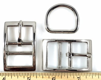 DOG COLLAR BUCKLES w Dee 1 inch Nickel Finish 6 Sets