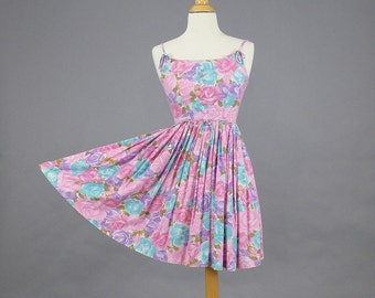 50s Dress, 1950s Rose Print Sundress, Vintage 1950s Full Skirt Dress, XS