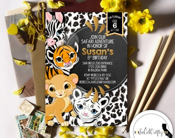 Safari Birthday Party Invitation, Animal Invitation, Zoo, Tiger, Animal Print, Chalkboard, Printed or Printable Invitations, Free Shipping
