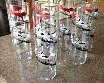 Libbey Tally Ho Glass Tumbler Vintage Tom Collins Red Black White Bar Set of 8 Equestrian Horse Fox Hunt