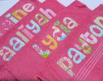 Personalized  Towel -  appliqued name -  Choose Fabric  for name - Great for the beach,bath,pool,rest mat,birthday,Graduation,Easter