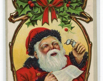 Santa Claus Eye Glasses Reading Letter Merry Christmas Holiday 1913 postcard