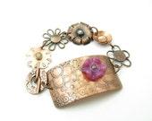 Handmade Copper Flower Bracelet Flower Link Chain Inspirational Quote Cufflet Bracelet Gifts Under 100 BooBeads Jewelry Handmade Jewelry