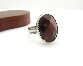 Large Faceted Red Tiger Eye Gemstone Sterling Silver Ring Size 10 Unisex Mens or Womens Tiger Eye Ring Handmade Metalwork Statement Jewelry