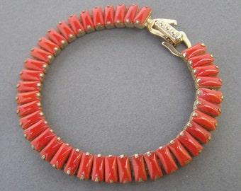 Vintage Orang Rhinestone Bracelet Rectangular Links Opaque Old Hollywood Jewelry