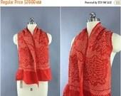 SALE 30% OFF - Vintage 1960s Silk Scarf / Silk Kimono Obiage / Silk Wrap Sash Obi / Spring Summer Scarf / Red & White Floral Shibori