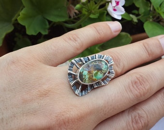 Sterling Silver Ring Turquoise Gemstone Ring