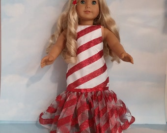 S A L E - 18 inch doll clothes - #233 Candy Cane Gown handmade to fit the American Girl Doll