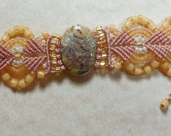 Yellow Micro Macrame Bracelet with Polymer Clay Cabochon, Free Shipping