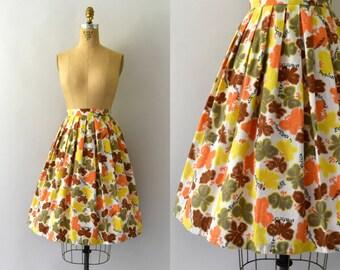 1950s Vintage Skirt - 50s Novelty Cotton Butterfly Print Full Skirt