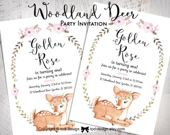 Woodland Deer Birthday Party Invitation - Baby Shower or First Birthday Party Invitation- Shabby Chic Baby Shower