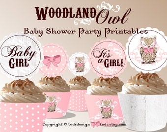 Woodland OWL Baby Girl Shower INSTANT DOWNLOAD Party Printables -  Cupcake Toppers and Wrappers