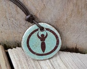 GODDESS Crop Circle pendant Green Blue Brown Ceramic sacred geometry Divine Feminine Wiccan Mother Rustic Earthy Crop Circle Jewelry Brown