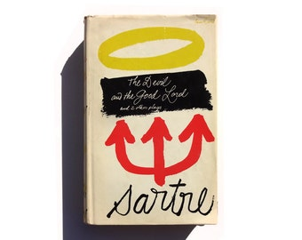 """Paul Rand book cover design, 1960. """"The Devil and the Good Lord and 2 other plays"""" by Jean-Paul Sartre"""