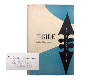 "Alvin Lustig book jacket design, 1947. ""André Gide"" by Van Meter Ames. SIGNED by the author. [New Directions, Makers of Modern Literature]"