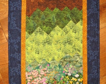 Tahoe Mountain Flowers and Stream Art Quilt Fabric Wall Hanging Landscape Quilt Blue Green Rustic Cabin Lodge Decor Wall Art Textile Art