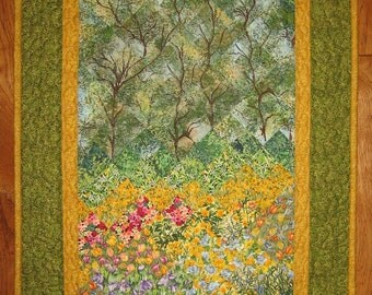 Art Quilt Summer Trees and Flowers, Fabric Wall Hanging, Tulips Daisies, Forest Tree Wall Hanging, Yellow Pink Flowers, Handmade