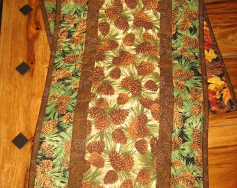 "Pine Cones Mountain Cabin Rustic Quilted Table Runner, Brown Pine Cones and Pine Boughs, 13 x 70"" Fall Reversible Runner, Handmade"