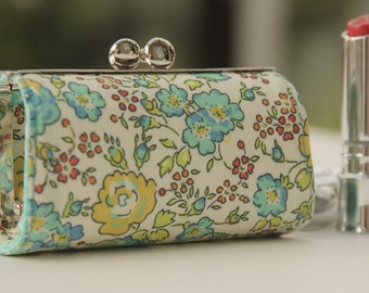 Lipstick Case/ Lipbalm case/ silver metal frame/ Liberty cotton/turquoise, yellow and pink small flowers.