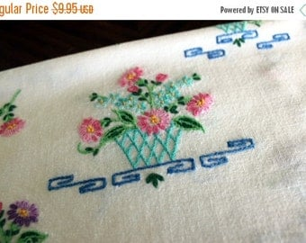 Linen Runner - Embroidered Table Scarf, Vintage White Linens, 13554