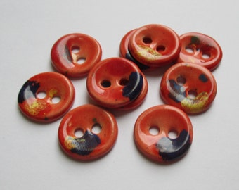 Deep Apricot Ceramic Buttons