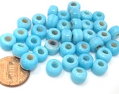 20 beads - Ethnic aqua blue color 9 mm glass crow beads - AB049
