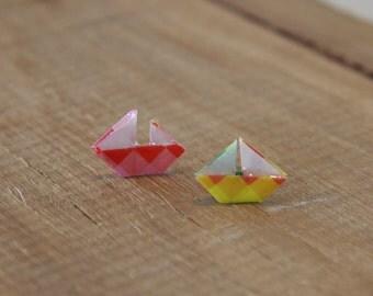 Origami Boat Stud Earrings - Rainbow and White - Waterproof