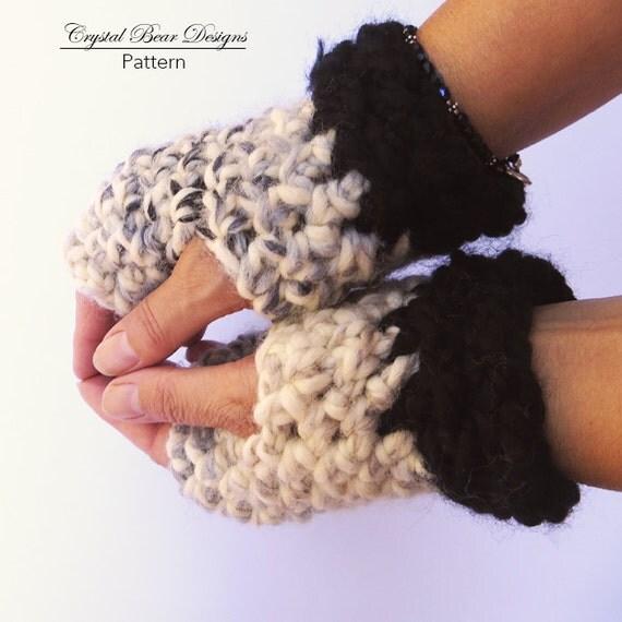 Crochet Fingerless Gloves Pattern Texting Mitts Chunky