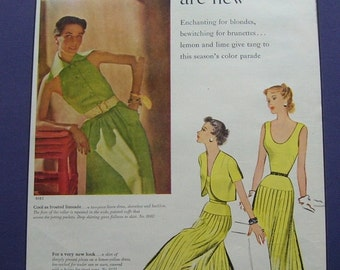 1950 Original Print Page McCall's Ladies Fashion Pattern, Ready to Make Fashion, Cool Citrus Colors,  Dress, Artist  Blanche Rothschild