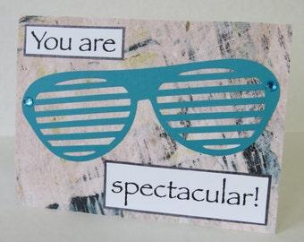 You Are Spectacular Teal Sunglasses Blank Handmade Card