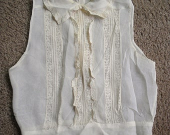 Vintage Ladies Blouse Silky Material Lace Inserts Pearl Buttons Repair or Reuse
