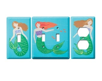 Switch Plate - Custom Hand Painted Wooden Light Switch or Electrical Cover Plate Mermaid or Any Theme