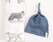Baby boy swaddle blanket and hat set. Doggie blanket with blue tabby knot hat.
