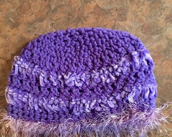 Crocheted Beanie Style Hat with Fluff