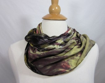 Ashari Shibori Silk Velvet Purple and Cream