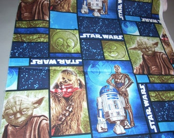 Star Wars characters - Yoda, R2D2, C3PO, Chewbacca -  Cotton Fabric  - 15 inches wide and sold by the yard
