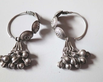 Vintage silver India Gypsy hoop earrings with tiny bell beads.  Gift for her.