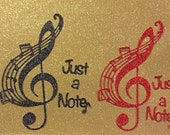 Nice Lot of Just A Note Musical Die Cut with Phrases  -  Set of 2