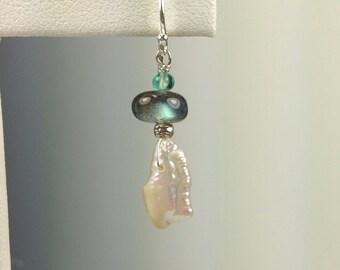 Freshwater Pearl and Labradorite Earrings