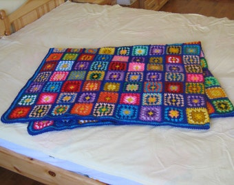 Big granny square afghan blanket, blue, warm, wrap, colorful, handmade, retro, crochet, patchwork, bed cover, cozy