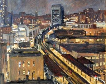 Broadway Nocturne, New York City. 16x16 Realist Oil Painting, NYC Urban Impressionist Night Scene, Signed Plein Air Original Fine Art