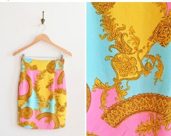 30% OFF STOREWIDE / SALE / Vintage 1990s baroque printed silk mini skirt
